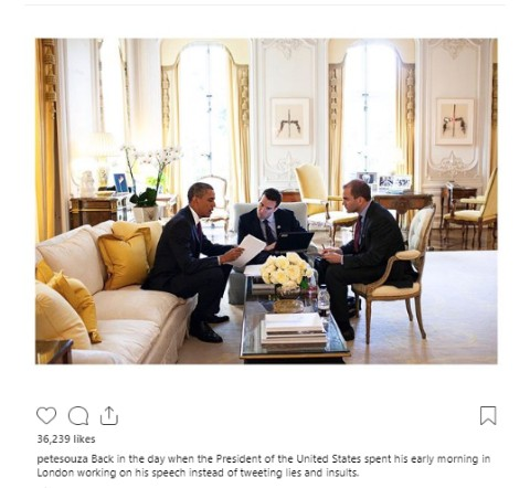 Pete Souza mocks Donald Trump
